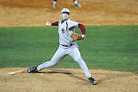 Relief pitcher John Nicklas (16) of the Boston College Eagles delivers a pitch in a game against the Wofford College Terriers on Friday, February 13, 2015, at Russell C. King Field in Spartanburg, South Carolina. Wofford won, 8-4. (Tom Priddy/Four Seam Images)