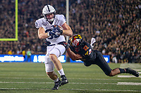 College Park, MD - September 27, 2019: Penn State Nittany Lions tight end Nick Bowers (83) avoids a tackle during game between Penn St and Maryland at  Capital One Field at Maryland Stadium in College Park, MD.  (Photo by Elliott Brown/Media Images International)