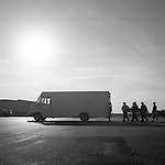 "The remains of a soldier killed in combat in Afghanistan are transported from an airplane to the military morgue during a ""dignified transfer"" at Dover Air Force Base in Dover, Delaware in July of 2010."