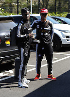 Pictured L-R: Marvin Emnes and Jonathan de Guzman before leaving Swansea. Friday 18 April 2014<br /> Re: Barclay's Premier League, Newcastle United v Swansea City FC at St James Park, Newcastle, UK.