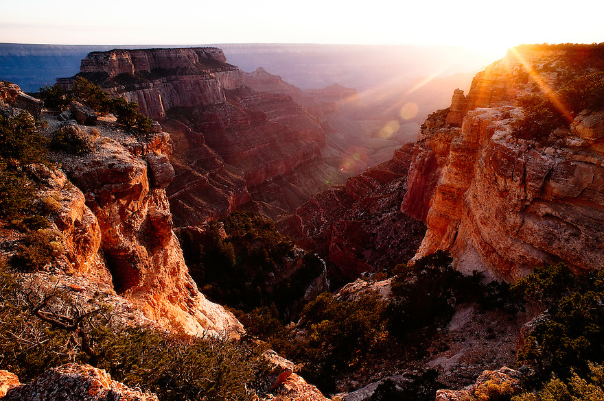 The sun sets near Cape Royal in Grand Canyon National Park.