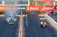 Feb 25, 2018; Chandler, AZ, USA; NHRA top fuel driver Greg Carrillo (right) defeats Tony Schumacher during the Arizona Nationals at Wild Horse Pass Motorsports Park. Mandatory Credit: Mark J. Rebilas-USA TODAY Sports
