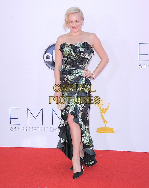 Elisabeth Moss.The 64th Annual Primetime Emmy Awards held at Nokia Theatre L.A. Live in Los Angeles, California, USA..September  23rd, 2012.emmys full length dress hand on hip black white floral print green pink dyed blonde hair strapless .CAP/DVS.©DVS/Capital Pictures.