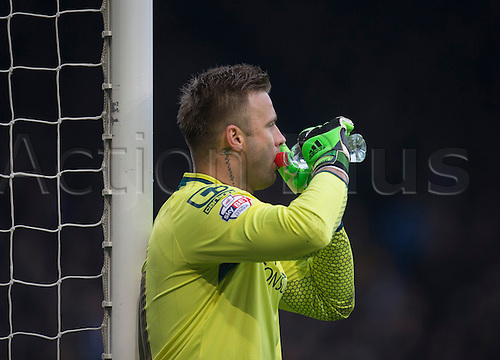 03.04.2015.  Ipswich, England. Skybet Championship. Ipswich Town versus AFC Bournemouth. Bournemouth's Artur Boruc takes a drink from his water bottle.