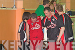 Liam Brosnan St Marys is helped to the bench after rupturing the Achilles tendon  against Loftus Recycling Ballina in the National Cup semi-final in Castleisland Community Centre on Saturday