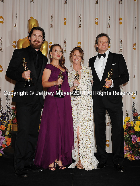 HOLLYWOOD, CA - FEBRUARY 27: Christian Bale, Natalie Portman, Melissa Leo and Colin Firth pose in the press room during the 83rd Annual Academy Awards held at the Kodak Theatre on February 27, 2011 in Hollywood, California.