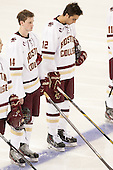 Adam Gilmour (BC - 14), Alex Tuch (BC - 12) - The Boston College Eagles defeated the visiting University of New Brunswick Varsity Reds 6-4 in an exhibition game on Saturday, October 4, 2014, at Kelley Rink in Conte Forum in Chestnut Hill, Massachusetts.