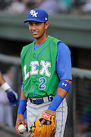 Photo of the Lexington Legends in a game against the Greenville Drive on Wednesday, June 4, 2014, at Fluor Field at the West End in Greenville, South Carolina. (Tom Priddy/Four Seam Images)