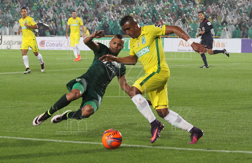 BOGOTA -COLOMBIA, 25-02-2017. Diego Alvarez (L)player of La Equidad fights the ball against of  Farid Diaz (R)  palyer of Atletico Nacional .Action game between  La Equidad and Atletico Nacional during match for the date 5 of the Aguila League I 2017 played at Ne stadium . Photo:VizzorImage / Felipe Caicedo  / Staff