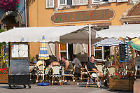restaurant terrace main street ribeauville alsace france