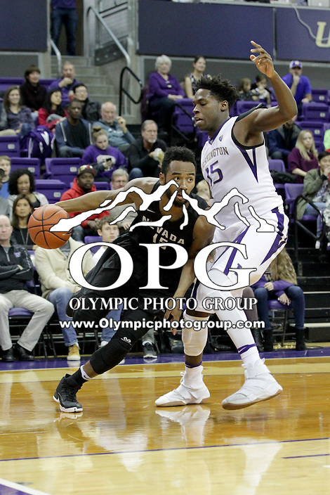 SEATTLE, WA - DECEMBER 11:  Nevada's D.J. Fenner against Washington.  Nevada defeated Washington 87-85 at Alaska Airlines Arena in Seattle, WA.