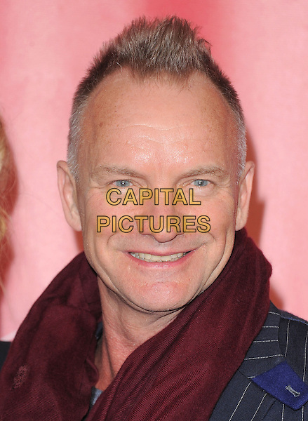 Sting (Gordon Sumner).The MusiCares 2013 Person Of The Year Tribute held at The Los Angeles Convention Center, West Hall in Los Angeles, California, USA..February 8th, 2013.headshot portrait red burgundy scarf navy blue pinstripe jacket .CAP/RKE/DVS.©DVS/RockinExposures/Capital Pictures.
