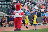 "Winston-Salem Dash mascot Bolt leads a parade of young fans dressed like chickens while they do the ""Chicken Dance"" between innings of the game against the Carolina Mudcats at BB&T Ballpark on May 21, 2017 in Winston-Salem, North Carolina.  The Mudcats defeated the Dash 3-0 in 10 innings.  (Brian Westerholt/Four Seam Images)"
