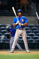 Midland RockHounds shortstop Richie Martin (12) at bat during a game against the Arkansas Travelers on May 25, 2017 at Dickey-Stephens Park in Little Rock, Arkansas.  Midland defeated Arkansas 8-1.  (Mike Janes/Four Seam Images)