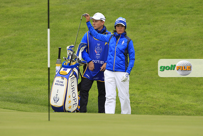 Celine Boutier (EUR) on the 1st during Day 3 Singles at the Solheim Cup 2019, Gleneagles Golf CLub, Auchterarder, Perthshire, Scotland. 15/09/2019.<br /> Picture Thos Caffrey / Golffile.ie<br /> <br /> All photo usage must carry mandatory copyright credit (© Golffile   Thos Caffrey)