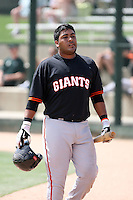 Hector Sanchez, San Francisco Giants 2010 minor league spring training..Photo by:  Bill Mitchell/Four Seam Images.
