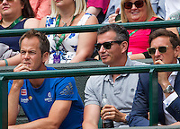 London, England, 28 june, 2016, Tennis, Wimbledon, Richard Krajicek (NED) (M) coach of Stanislas Wawrinka (SUI) left Magnus Norman<br /> Photo: Henk Koster/tennisimages.com
