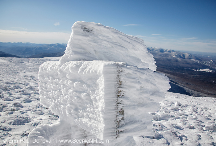 Appalachian Trail - Trail sign near the summit cone of Mount Washington in the White Mountains, New Hampshire USA  during the winter months.