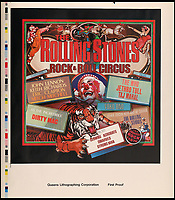 BNPS.co.uk (01202 558833)<br /> Pic: ButterscotchAuctions/BNPS<br /> <br /> Rock and Roll Circus, printer's proof of an unreleased album cover.<br /> <br /> A fascinating selection of Rolling Stones' album cover ideas from the late 1960s and 1970s which were rejected - and one which sparked a major controversy - have emerged for auction.<br /> <br /> Designs which never made it to the printers include a cover for a 1970s greatest hits album where the band are chiselled into rock like the US presidents' on Mount Rushmore with the faces of Mick Jagger and Keith Richards replacing George Washington and Abraham Lincoln. <br /> <br /> There is also the controversial original print for the cover of their 1968 album Beggars Banquet which depicts a grimy bathroom stall covered in graffiti.