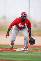 Cincinnati Reds Montrell Marshall (25) during an instructional league game against the Cleveland Indians on October 17, 2015 at the Goodyear Ballpark Complex in Goodyear, Arizona.  (Mike Janes/Four Seam Images)