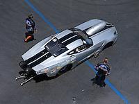 Jun 18, 2016; Bristol, TN, USA; Crew members with NHRA pro mod driver Bob Rahaim during qualifying for the Thunder Valley Nationals at Bristol Dragway. Mandatory Credit: Mark J. Rebilas-USA TODAY Sports