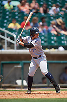 Pensacola Blue Wahoos designated hitter Nick Longhi (24) at bat during a game against the Birmingham Barons on May 9, 2018 at Regions Field in Birmingham, Alabama.  Birmingham defeated Pensacola 16-3.  (Mike Janes/Four Seam Images)