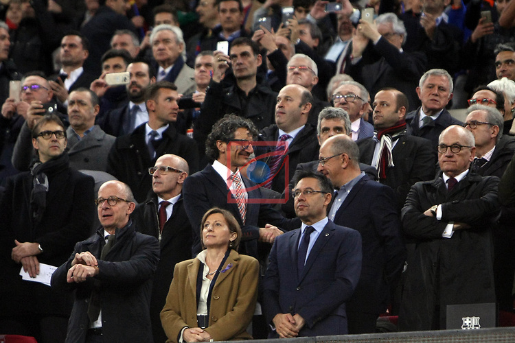 UEFA Champions League 2016/2017.<br /> Round of 16 2nd leg<br /> FC Barcelona vs Paris Saint-Germain: 6-1.<br /> Jordi Cardoner, Carme Forcadell &amp; Josep M. Bartomeu.