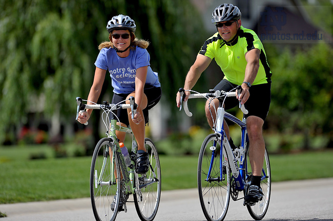 University of Notre Dame College of Science dean Greg Crawford, right, and his wife Renate ride their bikes near their Granger, IN home June 10, 2010.  The Crawfords will bike from Tucson, AZ to Notre Dame in July and August of 2010 to raise awareness of Notre Dame's new partnership with the Ara Parseghian Medical Research Foundation...Photo by Matt Cashore/University of Notre Dame