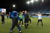 San Jose, CA - Tuesday June 11, 2019: Jimmy Ockford #15 and Chris Wondolowski #8 lead the cheer after winning the US Open Cup match between the San Jose Earthquakes and Sacramento Republic FC at Avaya Stadium.