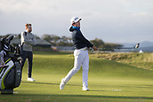 2nd October 2017, The Old Course, St Andrews, Scotland; Alfred Dunhill Links Championship golf practice round; Daniel Im of the USA tees off on the eighteenth hole during a practice round on the Old Course, St Andrews