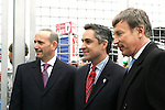 7 April 2007: MLS Commissioner Don Garber (left), Commerce City mayor Sean Ford (center), and Rapids owner Stan Kroenke (right) at the ribbon-cutting ceremony to open Dick's Sporting Goods Park. The Colorado Rapids defeated DC United 2-1 at Dick's Sporting Goods Park in Denver, Colorado in the opening game of the MLS regular season.