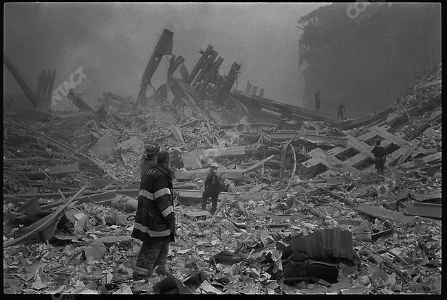 Terrorist attack, destruction of the World Trade Center, New York City, New York, USA, September 11, 2001.