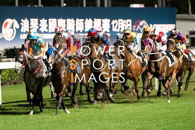 Jockey Keith Yeung Ming-lun (C) riding Proud Sky during Hong Kong Racing at Happy Valley Race Course on November 22, 2017 in Hong Kong, Hong Kong. Photo by Marcio Rodrigo Machado / Power Sport Images