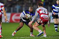 Beno Obano of Bath Rugby in possession. Anglo-Welsh Cup match, between Bath Rugby and Gloucester Rugby on January 27, 2017 at the Recreation Ground in Bath, England. Photo by: Patrick Khachfe / Onside Images