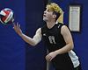Owen Bradley #17 of Bellmore JFK serves during a Nassau County varsity boys volleyball match against host Port Washington High School on Monday, Oct. 17, 2016. Port Washington won 3-0.