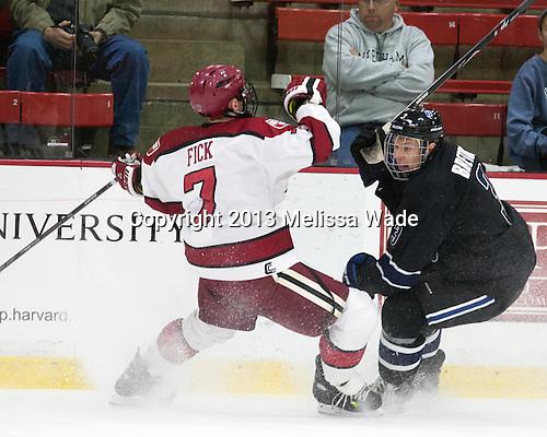 Danny Fick (Harvard - 7), Justin Breton (Bentley - 3) - The Harvard University Crimson defeated the visiting Bentley University Falcons 3-0 on Saturday, October 26, 2013, in Harvard's season opener at Bright-Landry Hockey Center in Cambridge, Massachusetts.