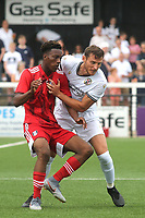 Timmy Abraham of Fulham is tightly marked by Bromley's Jack Holland during Bromley vs Fulham, Friendly Match Football at the H2T Group Stadium on 6th July 2019