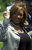 "Washington, DC - May 15, 2004 -- Patti LaBelle waves as she leaves the stage after singing ""The Lord's Prayer"" at the Annual Peace Officers' Memorial Service on the West Lawn of the United States Capitol in Washington, D.C. on May 15, 2004.  The service, sponsored by the Fraternal Order of Police (FOP), is held annually on May 15 to honor those who gave their lives during the previous year and to honor their families.  The service remembers the sacrifice of the more than 15,000 officers who have been killed in the line of duty since 1794.<br /> Credit: Ron Sachs / CNP<br /> (RESTRICTION: NO New York or New Jersey Newspapers or newspapers within a 75 mile radius of New York City)"