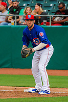 Tennessee Smokies first baseman Ian Rice (5) during a Southern League game against the Biloxi Shuckers on May 25, 2017 at Smokies Stadium in Kodak, Tennessee.  Tennessee defeated Biloxi 10-4. (Brad Krause/Krause Sports Photography)