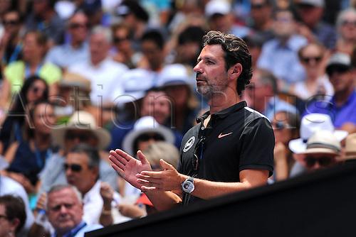 26.01.2016. Melbourne Park, Melbourne, Australia. Australian Open Tennis Championships.  Serena Williams (USA) coach Patrick Mouratoglou