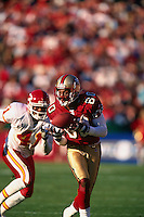 SAN FRANCISCO, CA - Jerry Rice of the San Francisco 49ers in action during a game against the Kansas City Chiefs at Candlestick Park in San Francisco, California on November 11, 2000. Photo by Brad Mangin