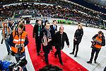 Solna 2014-03-16 Bandy SM-final herrar Sandvikens AIK - V&auml;ster&aring;s SK :  <br /> Prins Daniel Westling b&auml;r ut SM-pokalen inf&ouml;r prisutdelningen tillsammans med Svenska Bandyf&ouml;rbundets ordf&ouml;rande H&aring;kan Ramsin<br /> (Foto: Kenta J&ouml;nsson) Nyckelord:  SM SM-final final herr herrar VSK V&auml;ster&aring;s SAIK Sandviken