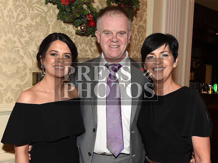 Paul Farrell from Farrell Brothers with Louise and Ciara Ferrell who won the Trump Award at the Baile Atha Fherdia Traders Awards in the Nuremore hotel Carrickmacross. Photo:Colin Bell/pressphotos.ie