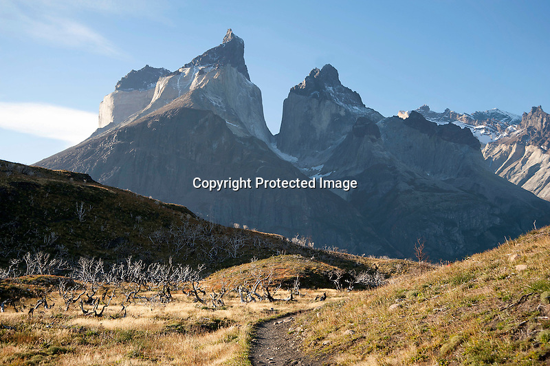 Shadows on Towering Los Cuernos Mountain Peaks in Torres del Paine National Park in Patagonia Chile