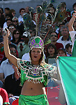 02 July 2007: A Mexico fan in traditional Aztec dress. At the National Soccer Stadium, also known as BMO Field, in Toronto, Ontario, Canada. Mexico's Under-20 Men's National Team defeated Gambia's Under-20 Men's National Team 3-0 in a Group C opening round match during the FIFA U-20 World Cup Canada 2007 tournament.