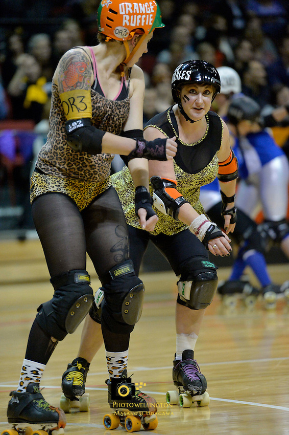 Roller Derby match between Smash Malice and Comic Slams at TSB Arena, Wellington, New Zealand on Saturday 13 April 2013.<br />