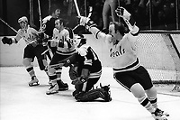 Seals celebrate goal against the Boston Bruins. , Patrick & Jarrett....(1972 .photo by Ron Riesterer)