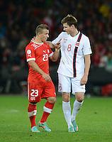 Fussball International  WM Qualifikation 2014   12.10.2012 Schweiz - Norwegen Xherdan SHAQIRI (li, Schweiz)und Havard Nordtveit (Norwegen)
