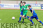 Michael O'Gara, Kerry, gets between Cabinteely FC players of Alex Connelly&Ryan Burke to hold possession when the sides met at Mounthawk Park, Tralee last Sunday afternoon in the Airtricity U17 league match.