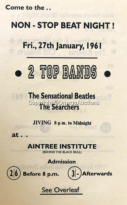 BNPS.co.uk (01202 558833)<br /> Pic: OmegaAuctions/BNPS<br /> <br /> Also in the auction - a early flyer from the Aintree Institute from Jan 1961.<br /> <br /> From Me To You - Fascinating business cards chart the earliest days of the Fab Four.<br /> <br /> Meet The Beatles - Three business cards that chart the evolution of the Beatles from fledgling teenagers have emerged for sale for £6,000.<br /> <br /> The first card dates to 1957 when John Lennon, Paul McCartney and George Harrison were in a band called The Quarry Men along with Lennon's best mate Pete Shotton.<br /> <br /> They started off as a Country, Western, Rock 'n' Roll and Skiffle act and had the cards professionally made while they looked for gigs in their native Liverpool.<br /> <br /> By the time The Quarry Men had their second set of business cards printed in 1958 they had dropped the Country  Western element to their act.<br /> <br /> And a third card printed in 1960 shows how the band had changed their name The Beatles and had a new manager, Alun Williams.